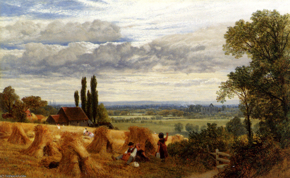 Ernten der Nähe von Newark Priorat ripley Surrey von Frederick William Hulme (1816-1884, United Kingdom)