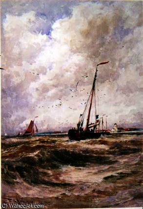 Fischerboote off katwick von Thomas Bush Hardy (1842-1897, United Kingdom)