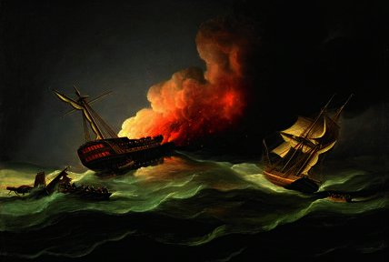 Die Ostindienfahrer Kent on Fire in den Golf von Biskaya von Thomas Buttersworth (1768-1842, United Kingdom)