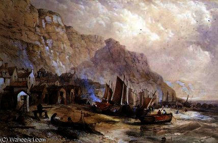 Old Hastings, Sussex von Thomas Charles Leeson Rowbotham (1823-1875, United Kingdom)