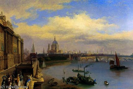 die thames und st . Paul's Kathedrale von William Parrott (1813-1869, United States)