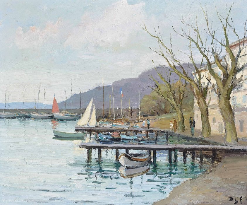 Segelboote in der Provence am Golf von Juan, (1979) von Marcel Dyf (1899-1985, France)
