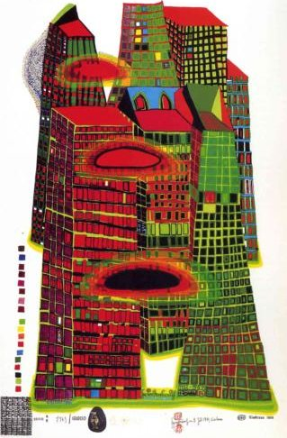 Good morning city von Friedensreich Hundertwasser (1928-2000, Austria) | ArtsDot.com