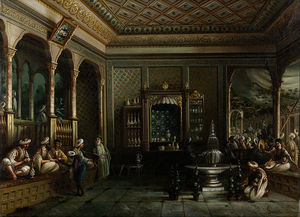Thomas Allom - Ein Coffee House in Tophane