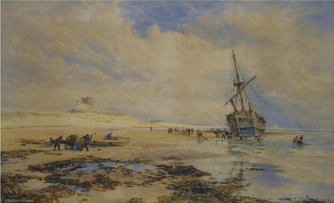 Sailors Bergung ein Wrack unten banborough Schloss von Thomas Bush Hardy (1842-1897, United Kingdom)