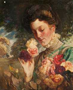 William Somerville Shanks - frau mit Rosen