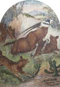 Henry Whiting - Hatwell-s -Gallopers- wild hunde Anfallend Antilope ( boden mitteltafel )