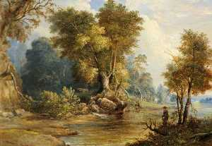 Edward Smith - fluss szene mit anglers , das leadon , Gloucestershire
